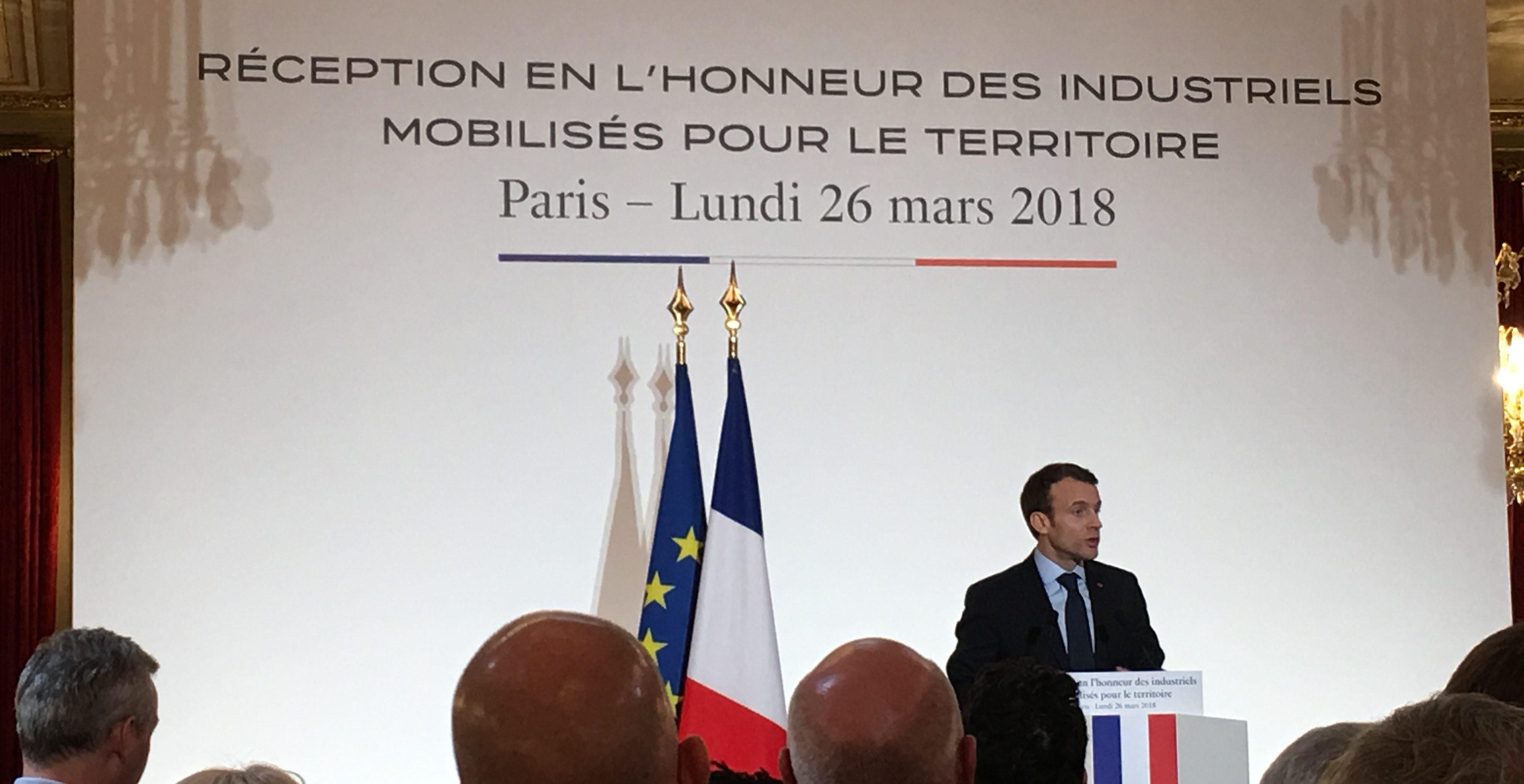 Mecanic Vallée représentée par son Président à la Réception en l honneur des industriels mobilisés pour le territoire à l Elysée - Lancement de la Semaine Nationale de l Industrie - le lundi 26 mars 2018