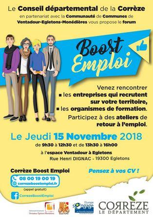 Forum Boost Emploi - Jeudi 15 Novembre 2018 à EGLETONS