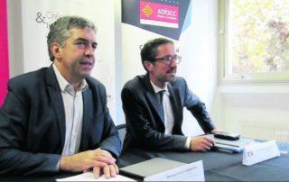 Vincent Labarthe et Jérôme Filippini ont présenté la rencontre du 7 novembre./ Photo DDM, M. Delaunay