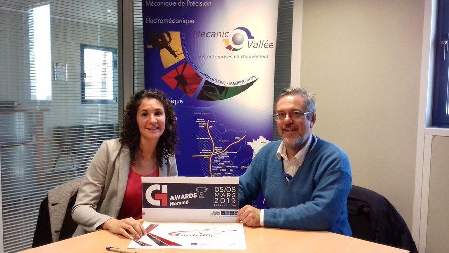 Camille Esquerré, chargée de mission projet européen et Hervé Danton animateur délégué de la Mecanic Vallée. A.Lecomte