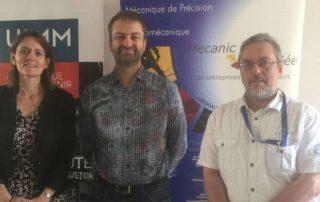 Les organisateurs des rencontres : de gauche à droite, Delphine L'Hostis (Secrétaire générale UIMM Limousin), Mickaël Grellety (vice-président Mecanic Vallée) et Hervé Danton (Délégué Mecanic Vallée).