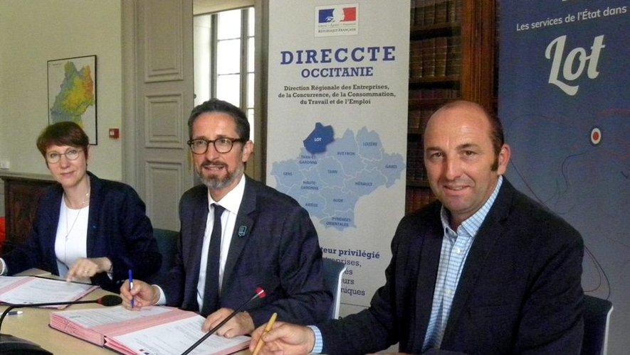 Jérôme Filippini (au centre) avait convié les signataires à la préfecture.