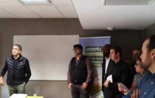 Vincent Labarthe, à gauche de la photo, avec les entrepreneurs de Quercypôle.