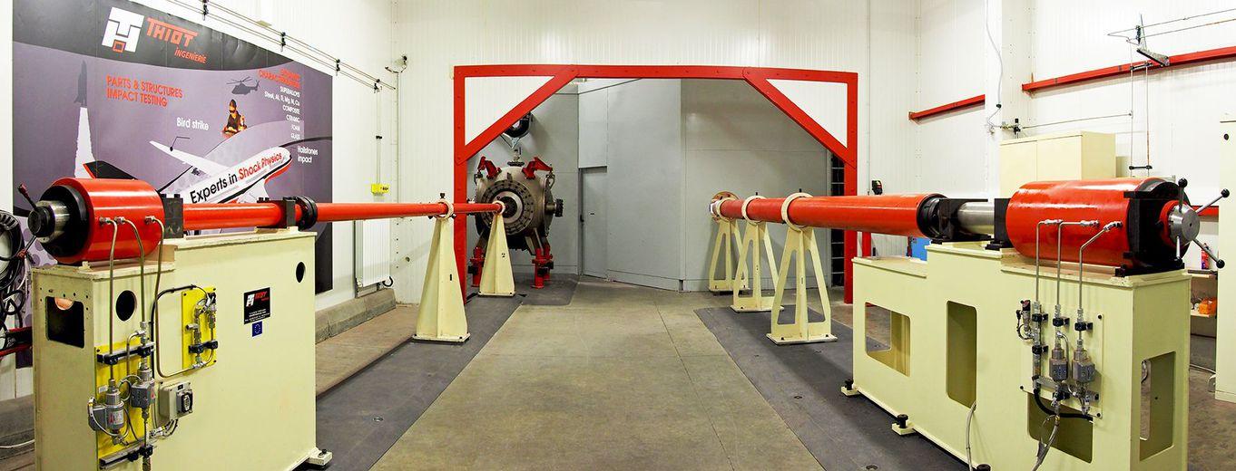 Les canons de laboratoire de Thiot Ingénierie. Photo Thiot Ingénierie